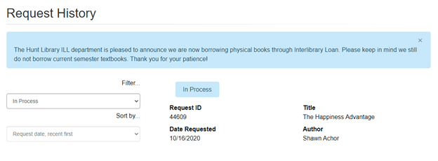 Interlibrary Loan Your ILL Requests Screen